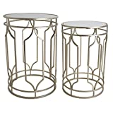 Round End Table Set - Gold End Tables with Mirrored Tops - Nesting Round Accent Tables - Gold and Mirrored Metal Side Tables - Rutledge & King Alexander End Table Set