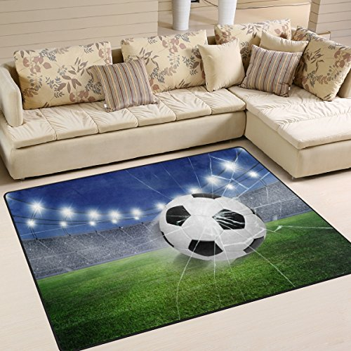ZOEO Non Slip Area Rugs Green 3D Football Soccer Sofa Mat Living Room Bedroom Carpets Doormats Home Decor 4x5