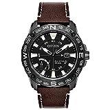 Citizen Reloj de hombre eco-drive correa de cuero caja de acero AW7045-09E