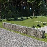 vidaXL Gabion Wall with Covers Galvanised Steel 900x50x100cm Stone Basket