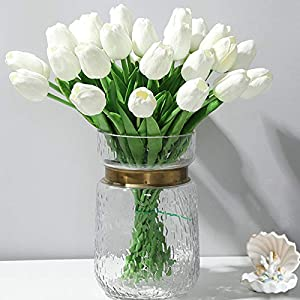 Artificial Flowers 30pcs Bouquet 14″ Tall Real Touch Tulips, White PU Fake Tulips Flowers for Arrangement Wedding Party or Easter Spring Home Centerpiece Dining Room Office Table Decoration.