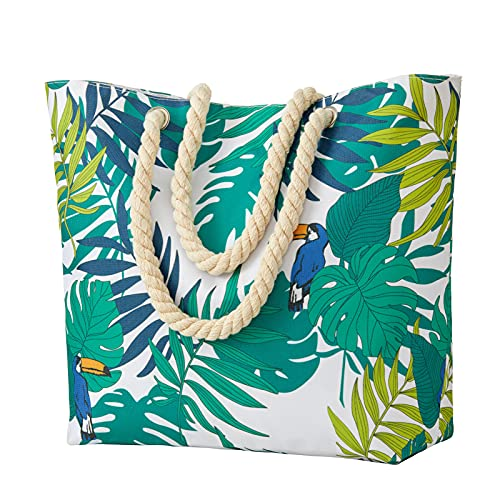 NovForth Beach Bag for Women, Extra Large Waterproof Canvas Tote Bag for Ladies, Large Beach Shoulder Handbag for Women