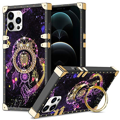 Wollony Case Compatible with iPhone 12, Compatible with iPhone 12 Pro(6.1 inch) with Kickstand Ring Stand Square Metal Edge Retro Elegant Anti-Slip Shockproof Protective Cover 5G Owl
