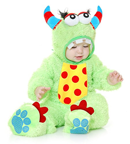 Charades Unisex-Adult's Little Monster Madness Costume Jumpsuit, Hood, and Footsies, Lime, Infant