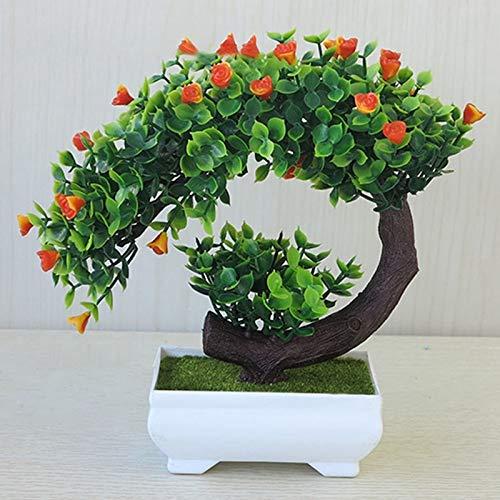 Lanyifang Maceta de Flores Artificiales Mini Árbol Bonsai Creativo Planta Artificial Incluyendo Maceta Decoracion para Interior Oficina Casa (Rojo)