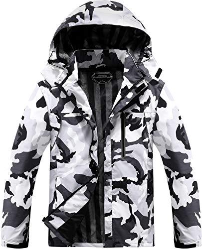 MOERDENG Men's Lightweight Windbreaker Winter Rain Jacket Waterproof Breathable Coat Camo