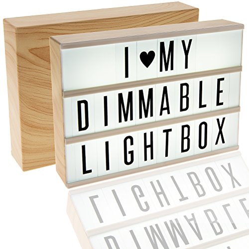 380 Tiles, Woodgrain Effect Dimmable Cinema Light Box, Unique Kids Night Light, Cinematic Vintage Marquee Sign with Changeable Letters and Fun Symbols |USB Mains Power Plug Adapter
