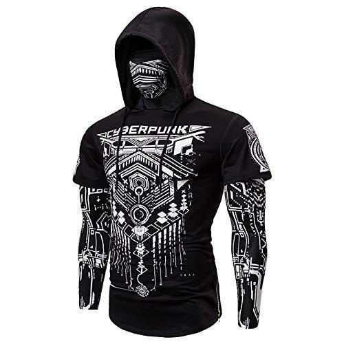 X&Armanis Felpa con Cappuccio da Uomo, Felpa in Cotone Cyberpunk T-Shirt a Maniche Lunghe Stampata Geometrica Astratta Maschera,1,L