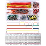 Esoteman 840 Pieces Breadboard Jumper Wire Kit, 14 Lengths Assorted Preformed Breadboard Jumper Wire with 830 MB-102 Tie Points Solderless Breadboard for Arduino, Raspberry Pi, Jetson Nano