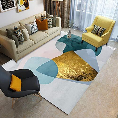 Kunsen Resistente a Las Manchas Alfombra Alfombra Suave de diseño de Graffiti Moderno Rosa Azul Amarillo para Sala de Estar Fácil de Limpiar habitación de los niños La alfombras 120 * 170cm