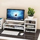 Anmas Power Support de moniteur en bois multifonctionnel en bois Organiseur de bureau Bureau Bureau Ordinateur de bureau Montage d'écran pour TV, PC, ordinateur portable (A-Blanc)