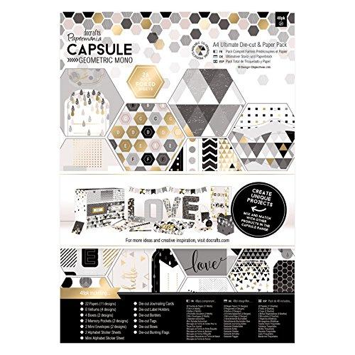 Docrafts PMA 160240 Ultimate gestanzt und Papier Pack, Papier, Mono, A4, 48Stück