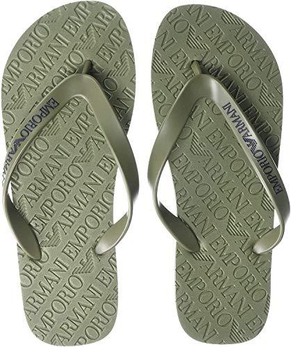 Emporio Armani Herren Designer Flip Flop Slipper, grün, 45 EU
