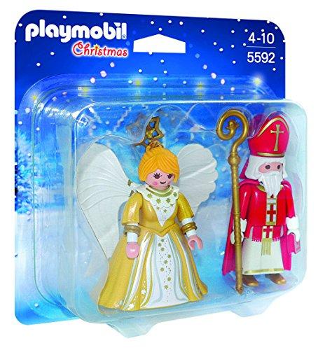 PLAYMOBIL - Christmas San Nicolás y Ángel de Navidad Playsets de Figuras de jugete, Color Multicolor (5592)
