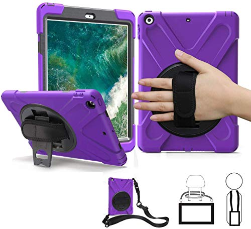 iPad Air 1st Generation Case for Kids 2013, TSQ Case for iPad Air 1 Three Layer Rugged Hybrid Hard Shockproof Durable Cover w/ Rotatable Stand Hand Shoulder Belt for iPad Air 1 Gen A1474 A1475, Purple
