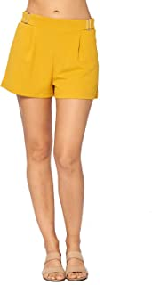 Ci Sono Women's Pull On Elastic Waist Fit and Flare Buckle Accessory Pleated Shorts