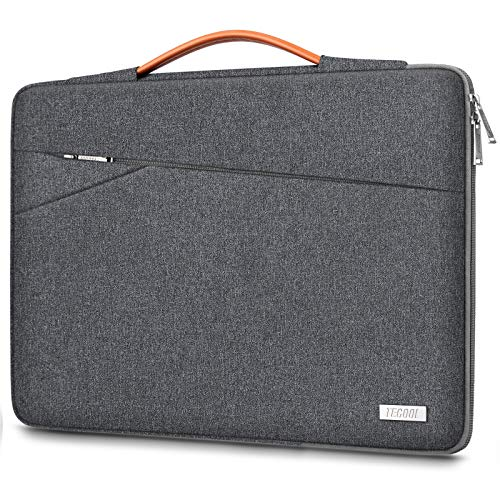 TECOOL 14 Inch Laptop Sleeve Case Shockproof Cover Bag with Handle and Front Pockets for 14 Inch HP Lenovo Dell Acer ASUS Laptops Chromebook Notebook, Dark Grey