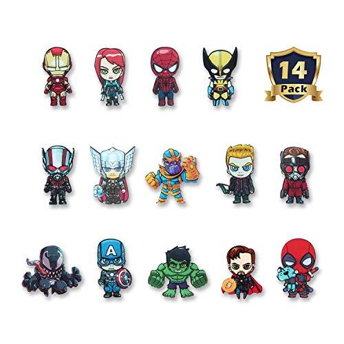 HXDZFX The Avengers 14PCS Refrigerator Magnets - Marvel Heroes Fridge Magnets Set - Marvel Characters - Final Battle Perfect Decorative Magnet