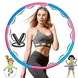 WELLXUNK Hula Hoop,Design Ondulato Gomma Piuma,Staccabile a 8 Sezioni Pneumatico da Palestra,Hoola Hoops Adulti e Bambini Regolabile Peso e Dimensione,con Corda per Saltare da 2,8 M(Blu e Rosa)