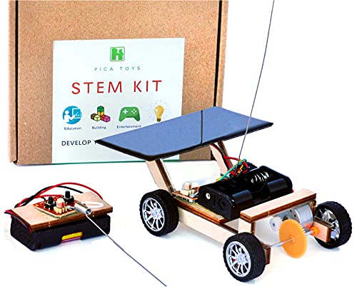 Pica Toys Solar Car V1 Model Kits to Build, Science Experiment Kit for Kids Age 8-12, Wireless Remote Control Robotic Stem Project, Electric Motor Hybrid Powered