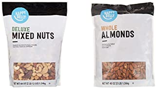 Amazon Brand - Happy Belly Deluxe Mixed Nuts, 44 Ounce & Happy Belly Whole Raw Almonds, 48 Ounce