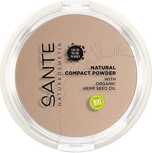 SANTE Naturkosmetik Natural Compact Powder 02 Neutral Beige, ideal für helle bis mittlere Hauttöne, mattiert und fixiert langanhaltend, für einen natürlichen Glow, mit Bio-Hanfsamenöl, Vegan, 9g