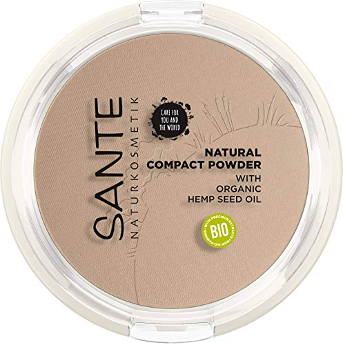 Sante Naturkosmetik Natural Compact Powder 02 Neutral Beige, Mittlerer Hautton, Perfektes Finish...