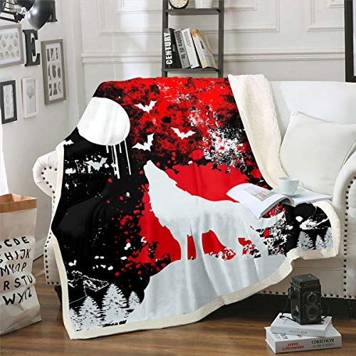 Manta de forro polar 3D Wolf Howling Wolf Safari Sherpa para niños y niñas, manta de felpa con tinte anudado para acuarela, decoración de animales, manta difusa para sofá cama, bebé 76 x 100 cm