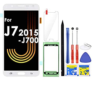 iFixmate LCD Screen Replacement  White  for Samsung Galaxy J7 2015 J700 J700T J700F J700H J700M SM-J700 LCD Touch Screen Digitizer Glass Display Assembly with Repair Tools and Adhesive