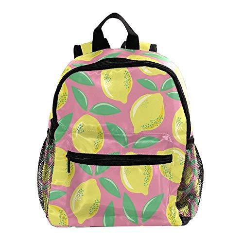 Mochila para niños con mochila para niños y niñas y niños en el jardín de infancia con corazones y puntos Limones en colores retro 25.4x10x30 CM/10x4x12 in
