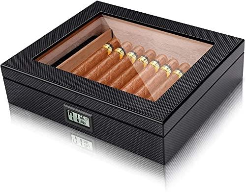N\C Caja de Puros Humidor de Puros Humidor de Puros de Fibra de Carbono Caja de Escritorio de Puros con higrómetro Digital Frontal y humidificador Caja de Tabaco