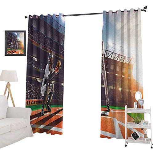 YUAZHOQI Teen Room Curtains for Living RoomProfessional Baseball Players in The Stadium Playing The Game Pich Sports Print Curtains Elegant for Living Room 52' x 95', Multicolor
