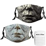 Halloween Michael Myers Face Mouth Mask 2Pcs Adjustable Mask with 6 Filters Reusable Face Cover for Adult and Youth