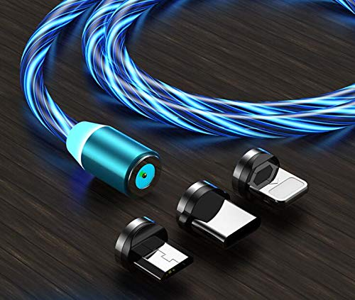 LED Flowing Magnetic Charger Cable, 3 in 1 Type C Micro USB Android i- Phone 3 Magnetic Connector, Light Up Cord Streamer Absorption Quick Snap Connector