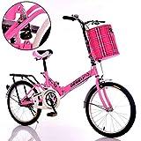 DT The New Fold Bicycle 16 Inch Damping Teens Bicycle Hombres y Mujeres de Edad Avanzada Estudiante Adulto Niño Carrito de bebé (Color : Pink)
