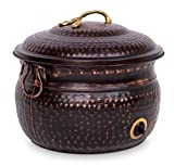 BIRDROCK HOME Decorative Water Hose Holder with Lid - Distressed Bronze Ground Garden Hose Pot - Handle - Embossed - Steel Metal with Copper Accents - Outdoor or Indoor Use