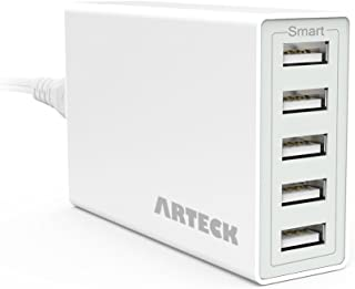 Arteck 40W 5-Port 8A High Speed Multiple USB Charger with Smart Technology for iPhone 11, 11 Pro, 11 Pro Max, Xs Max, Xs, Xr, X, 8, 8 Plus, 7s, 7, 6, iPad, Samsung and Other Smartphone, Tablet