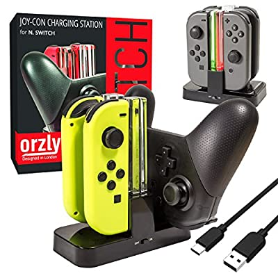 ORZLY® Nintendo Switch Joy Con Charging Dock, Pro Controller Charging Station, Charge Stand becomes Charger for Upto 4 JoyCons or Nintendo Switch Pro Controller, USB Power, Type C Cable Included
