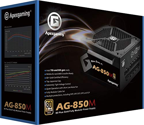 New 2020 80+ Gold Certified Fully Modular 850W High Performance Gaming Power Supply Support NV RTX & ATI RX GPU ApexGaming AG-850M PSU