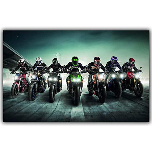 Motorrad-Renn-Poster, modulare Dekoration, modisch, Leinwand, Wandposter, Auto-Design, Tapete für Zuhause, Büro, Dekoration, 60 x 90 cm, ungerahmt
