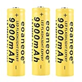 18650 Bateria Recargable Pilas 9900mAh 3.7V Li-Ion Litio 1200Ciclos Larga Vida Botón Superior Recargable Baterias Pilas Linterna LED, Amarillo, 65 * 17mm (2 Piezas)