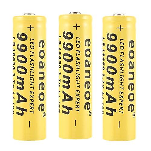 18650 Bateria Recargable Pilas 9900mAh 3.7V Li-Ion Litio 1200Ciclos Larga Vida Botón Superior Recargable Baterias Pilas Linterna LED, Amarillo, 65 * 17mm (4 Piezas)