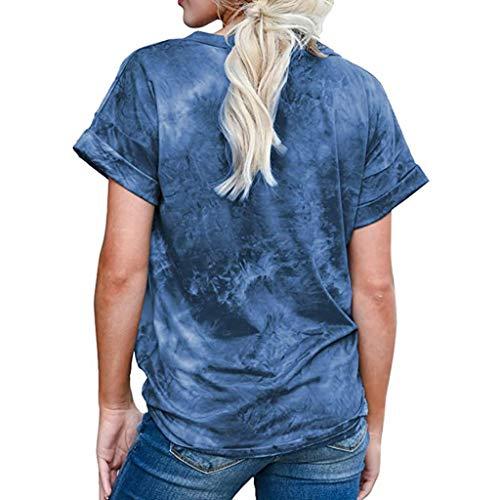 Hffan Mode Damen Sommer Tie-Dye Kurzarm V-Ausschnitt T-Shirt Casual Tops