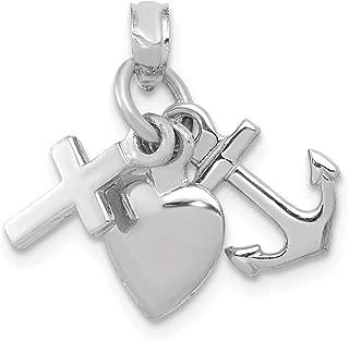 10K White Gold 3D Faith Hope and Love (Cross Anchor Heart) Mini Pendant