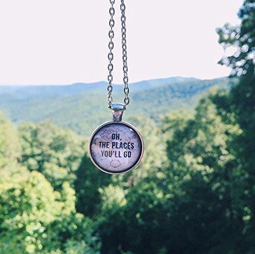 Oh The Places You\'ll Go Halskette, Karte Halskette, Reisekette, Geschenk zum Schulabschluss