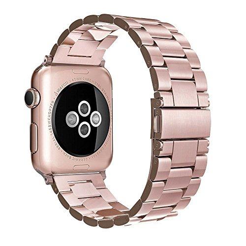Simpeak Cinturino Compatibile per Apple Watch 42mm 44mm in Acciaio Inossidabile con chiusura pieghevole, Tutti i Modelli Compatibile con Apple Watch 42mm di Series 1/2/3/4/5 Versione 2015 2016 2017 2018, Oro rosa