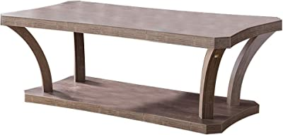Benjara Wooden Coffee Table with Concave Legs and 1 Open Shelf, Brown