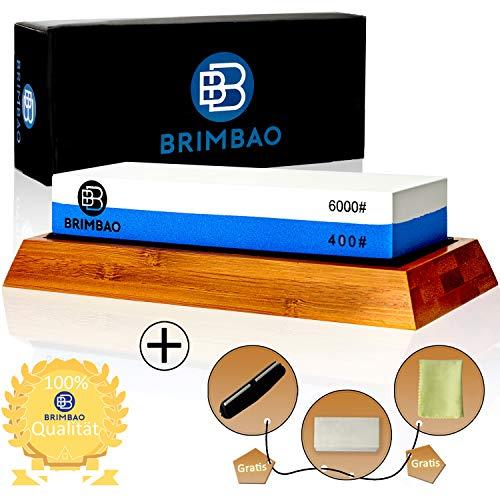 Brimbao Qualitäts Schleifstein [400/6000] - inkl. 7 kostenfreie Hilfsmaterialien - langlebiger 2-in-1 Wetzstein - Messerschaerfer für Outdoor- und Küchenmesser - Schleifstein Messer