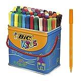 BIC Kids Visa rotuladores punta fina - colores Surtidos, Cubo de 84 unidades