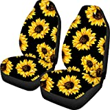 FUIBENG Vintage Sunflower Car Accessories 2 Pcs Women Cute Car Seat Covers Saddle Blanket Front Bucket Seats Protector Universal Fit for Cars